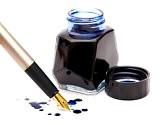 blauwe inkt gouden pen